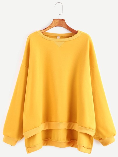 Yellow Dropped Shoulder Seam High Low Sweatshirt
