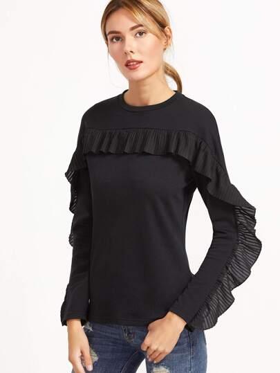 T-shirt plissé de ruché élancé -noir