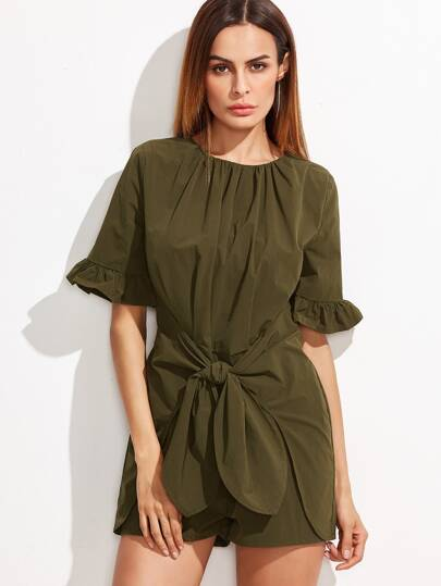 Olive Green Ruffle Sleeve Tie Front Romper