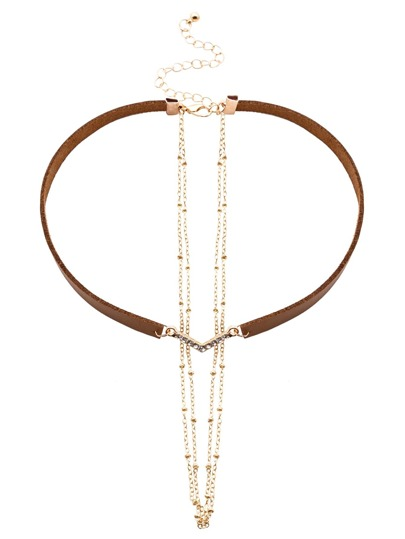 Brown Faux Leather Layered Chain Rhinestone Choker Necklace