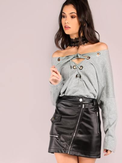 Heather Grey Lace Up Front Sweatshirt