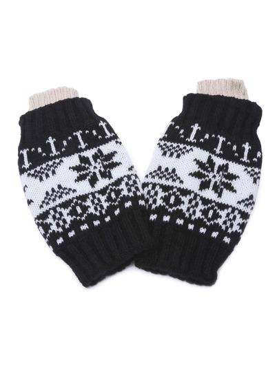 Чёрные вязаные перчатки без пальцев с узором снежинки