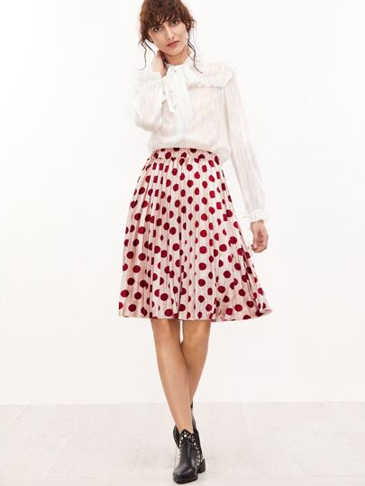 Burgundy Polka Dot Print Pleated Skirt
