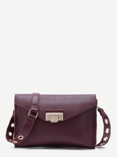Maroon Zip Trim PU Double Sided Envelope Bag With Eyelet Strap