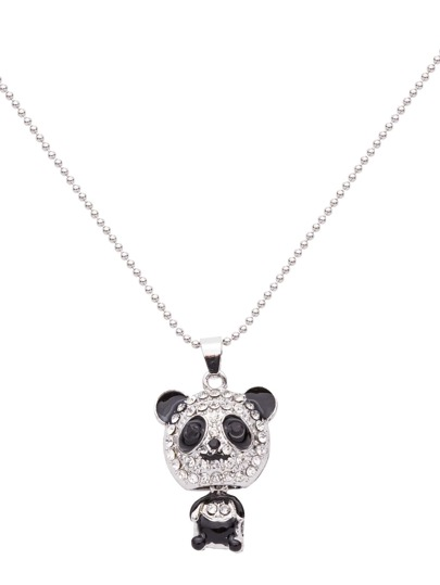 Silver Plated Rhinestone Panda Pendant Necklace