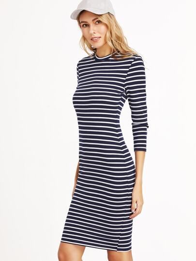 Navy And White 3/4 Sleeve Sheath Dress