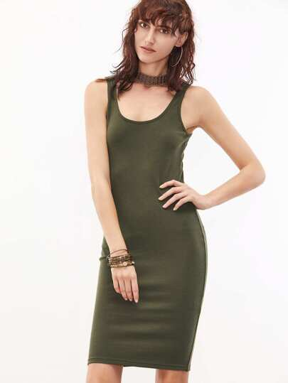 Olive Green Sleeveless U Neck Bodycon Dress