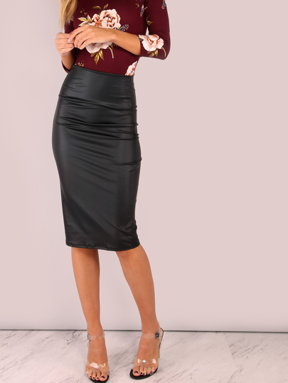 Wide Waistband Coated Pencil Skirt BLACK
