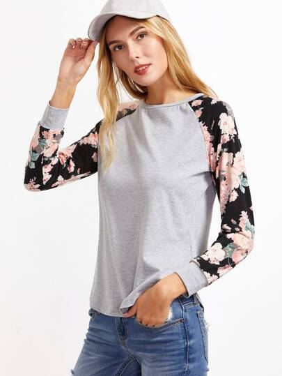 Heather Grey Contrast Floral Raglan Sleeve T-shirt