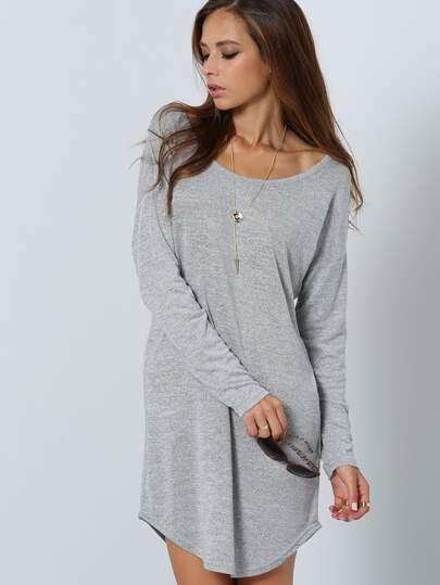 Kleid Langarm mit V-grau