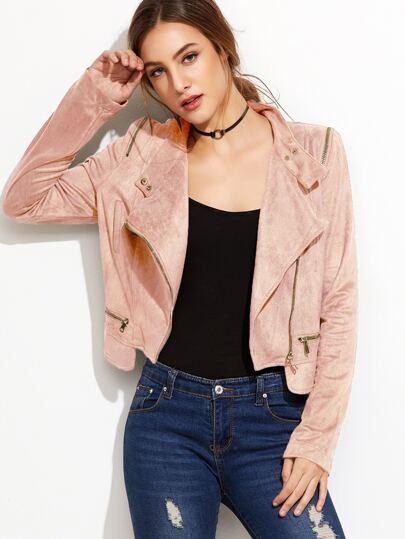 Pink Oblique Zipper Suede Jacket