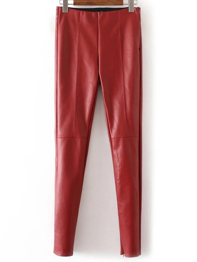 Red Zipper Cuff Seam PU Pants
