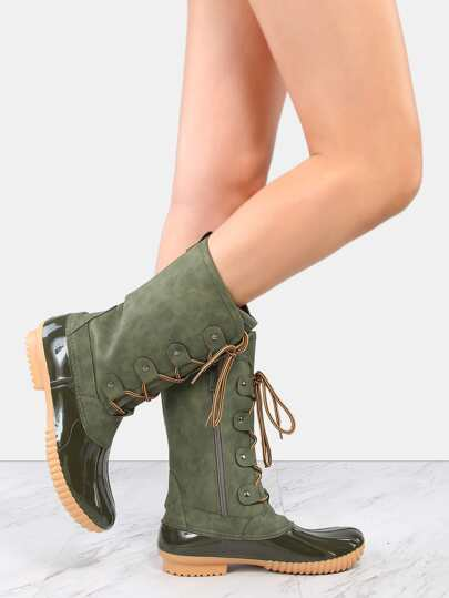 Rubber Toe Suede Duck Boots OLIVE