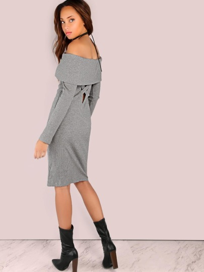 Criss Cross Cut Out Ribbed Midi Dress HEATHERGREY