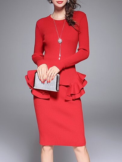 Red Knit Ruffle Top With Skirt