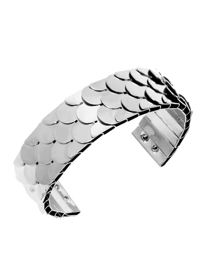 Shiny Silver Fish Scale Design Open Wrap Cuff