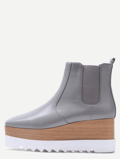 Grey Faux Leather Square Toe Platform Chelsea Boots