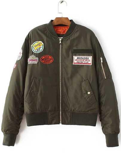 Army Green Zipper Pocket Patch Padded Jacket