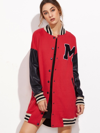 Red Contrast Coated Sleeve Longline Baseball Jacket