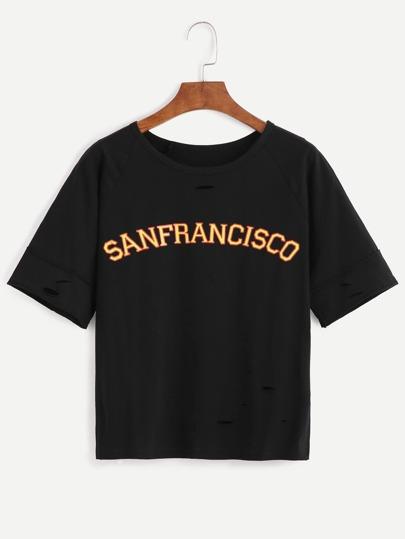 T-shirt imprimé slogan effet déchiré - noir