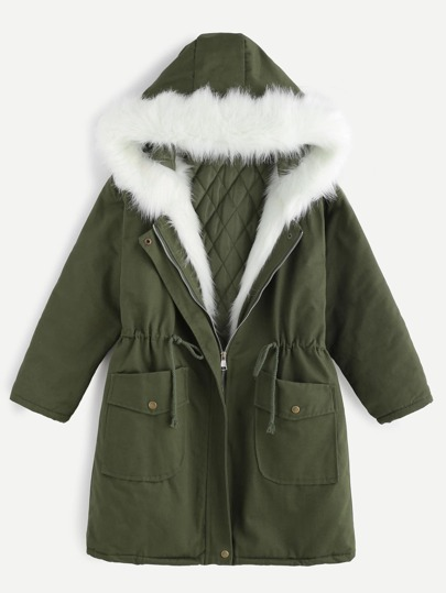 Army Green Drawstring Hooded Parka With Faux Fur