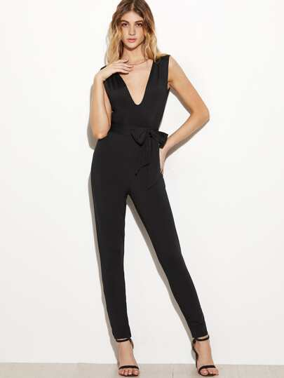 Black Deep V Neck Self Tie Jumpsuit