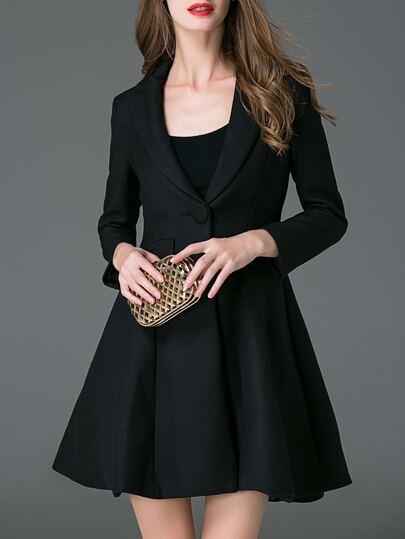 Black Lapel A-Line Dress