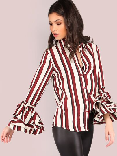 Multi Stripe Button Up Bell Sleeve Top BURGUNDY