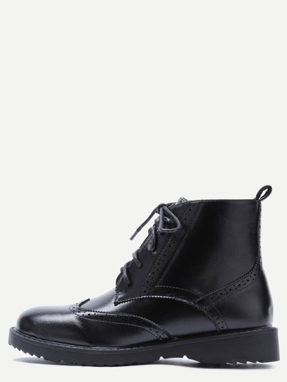 Black PU Wingtip Lace Up Booties