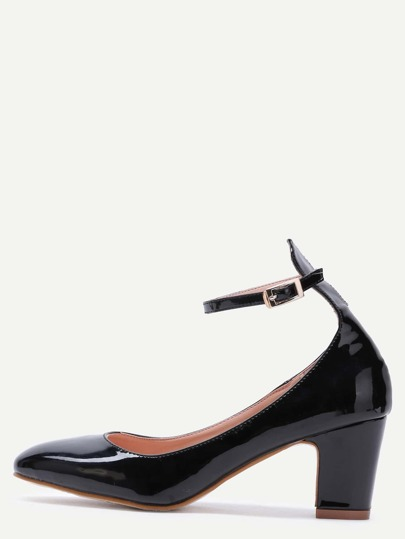 Black Patent Leather Ankle Strap Chunky Heels