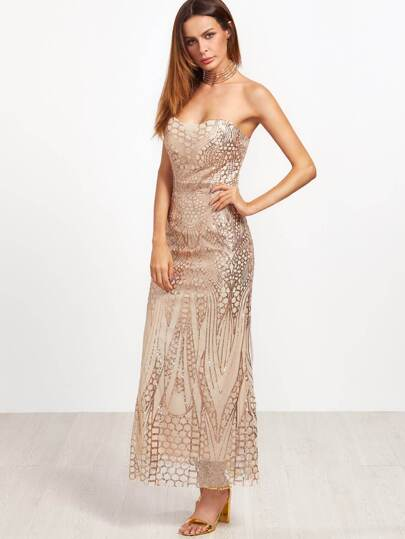 Gold Sweetheart Zipper Back Sequined Sheath Dress