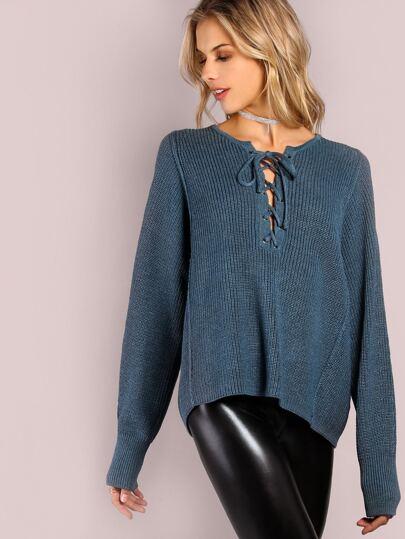 Lace Up Knit Jumper BLUE