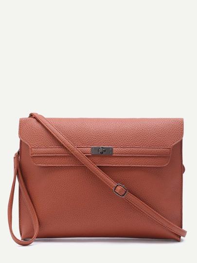 Brown Pebbled PU Twistlock Closure Messenger Bag