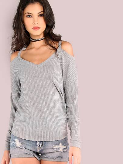 Grey Waffle Knit Cold Shoulder Dolman Sleeve T-shirt