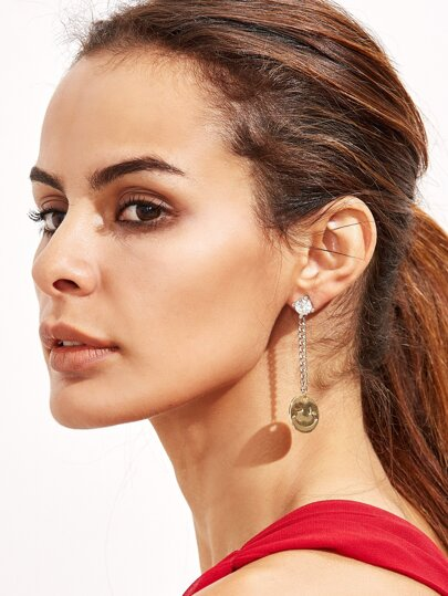 Silver Tone Rhinestone Smiley Face Asymmetrical Earrings