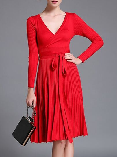 Red V Neck Knit Pleated Tie-Waist Dress