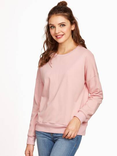 Pink Bow Tie Split Back Dolman Sleeve Sweatshirt