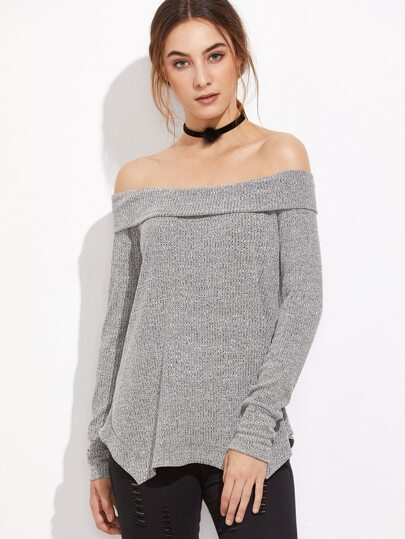 Grey Off The Shoulder Fold Over Asymmetric T-Shirt