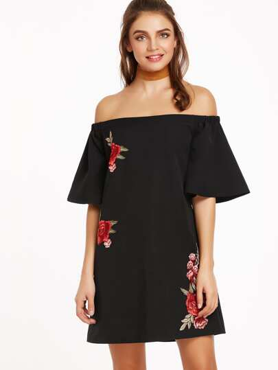 Black Embroidered Flower Applique Bell Sleeve Off The Shoulder Dress