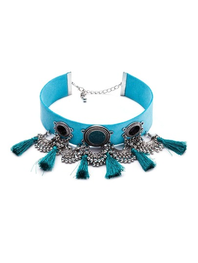 Turquoise Vintage Tassel Chain Fringe Statement Choker Necklace