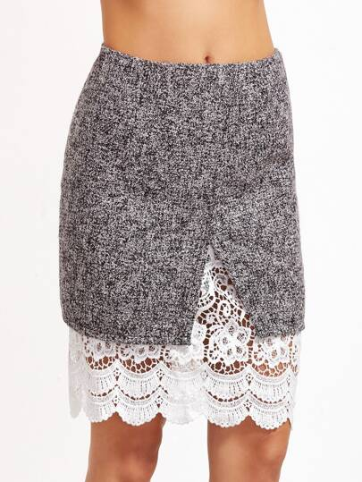 Marled Split Front Crochet Trim Skirt