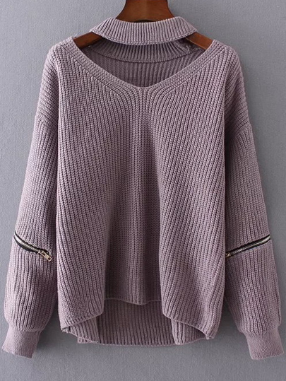 Purple Choker V Neck Zipper Detail Sweater