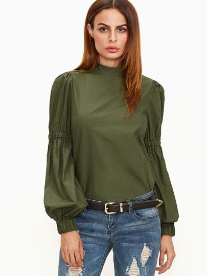T-shirt mit Elastische Laterne Ärmel-oliv grün