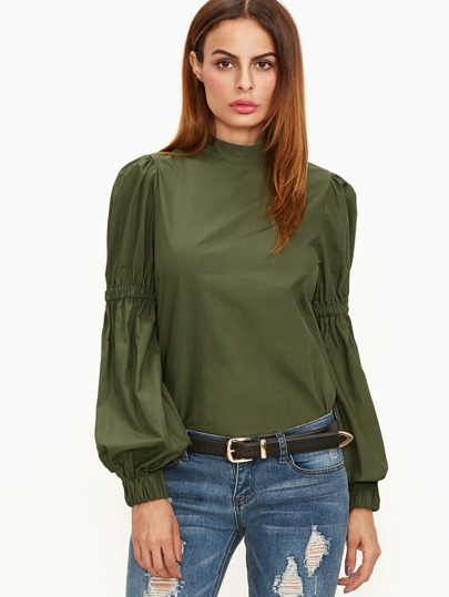 Olive Green Elastic Lantern Sleeve Blouse