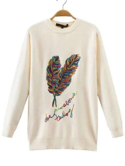 Beige Feather Embroidery Crew Neck Sweater