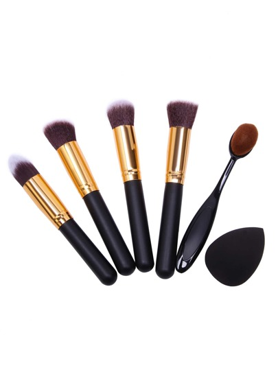 Black Professional Makeup Brush Set With Blending Sponge