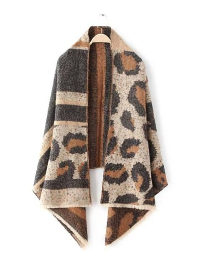 Коричневый модный шарф шалью с леопардовым принтом