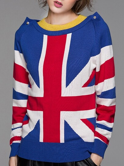 Blue Union Jack Loose Sweater