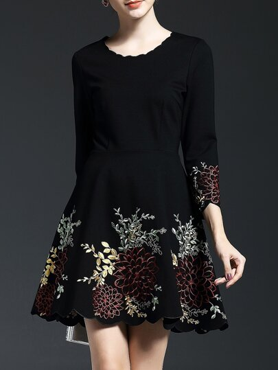 Black Flowers Embroidered A-Line Dress