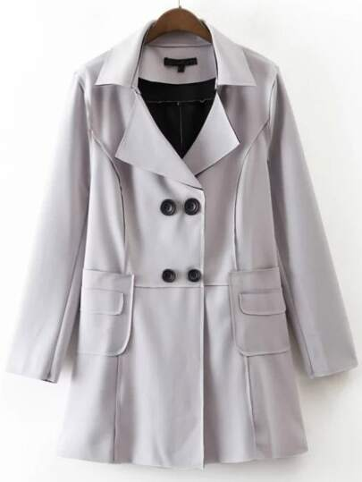 Grey Double Breasted Trench Coat With Pocket